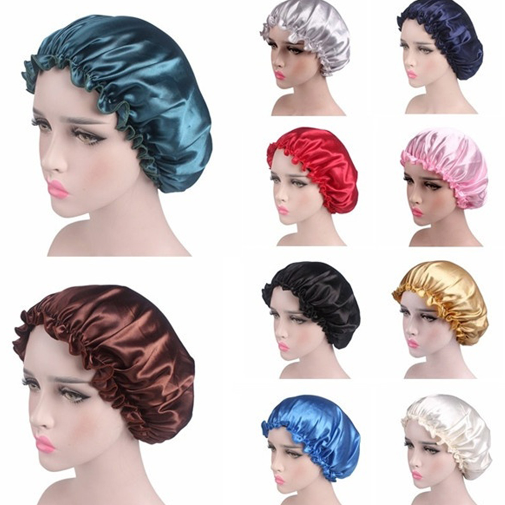 Hair Care Cap 2019 Fashion Lady Night Sleep Hat Long Hair Care Chemo Cap Satin Shining Silky Soft Lace Bonnet Turban Headwrap