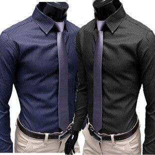 2020 Gentleman Stripe Long Sleeve Shirt Leisure Men's Casual Slim Long-sleeved Shirt Top Blouse Business Men Brand Clothing 1