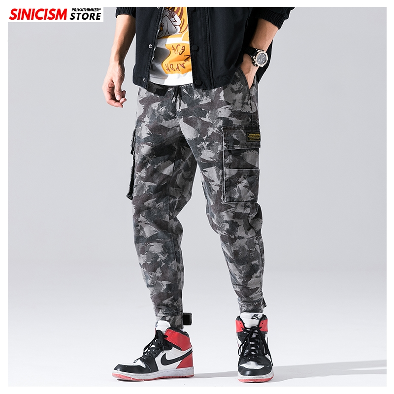 Sinicism Store Men's Autumn Japanese Cargo Pants 2019 Men Heavyweight Winter Warm Joggers Male Oversize Camouflage Harem Pants