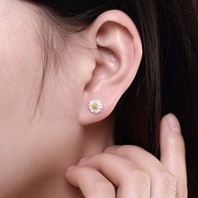 2019 Fashion Genuine 925 Sterling Silve Flower Exquisite Stud Earrings For Women Wedding Party Jewelry Gift