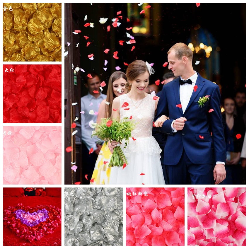100PCS 5*5CM Silk Rose Petals For Wedding Decoration Romantic Artificial Rose Flower Wedding Accessories