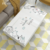 White PVC Tablecloth Cartoon Waterproof Oil proof Thicken Soft Glass Insulation Heat Easy Clean Living Room Kitchen Accessories