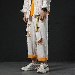 Hole Jeans Men Fashion Wash Collision Color Casual Denim Pants Men Streetwear Loose Hip Hop Straight Jean Trousers Male Clothes