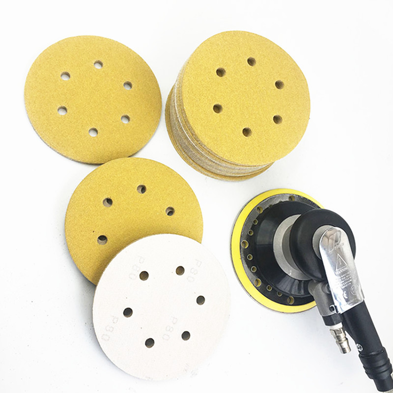 5-Inch Yellow Round Plates Flocked Pneumatic Bei Rong SNAD Paper Disk 6-Inch Self-Adhesive Velcro Car Polishing Yellow Sand