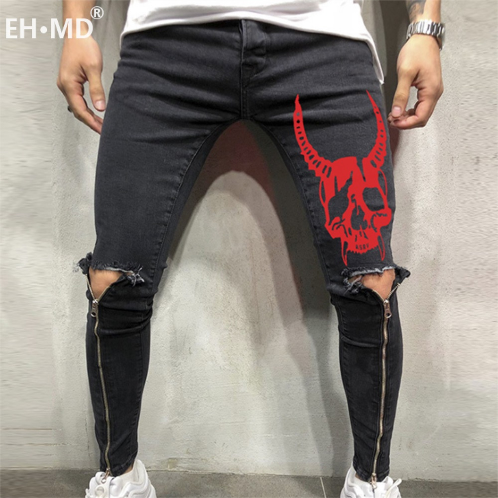 EH·MD® Four Seasons Sports Trousers Men's Large Size Skull Print Splice Slim Feet European And American Jeans Men's Hole Zipper