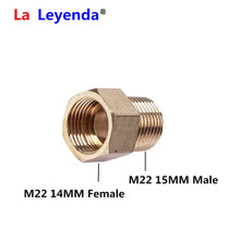 Brass High Pressure Washer Coupler M22 diameter 15mm Male to M22 14mm Female Thread Connector Internal Thread Hose Pipe Adapters
