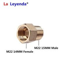 ทองเหลืองแรงดันสูงเครื่องซักผ้า Coupler M22 เส้นผ่าศูนย์กลาง 15 มม.M22 14 มม.ด้ายด้ายภายในท่ออะแดปเตอร์ท่อ