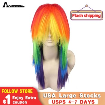 Anogol My Little Pony Ponytail Style Rainbow Color Dash Yellow Pink Side Part Red Green Purple Synthetic Cosplay Wig For Party long side bang straight my little pony lily cosplay wig