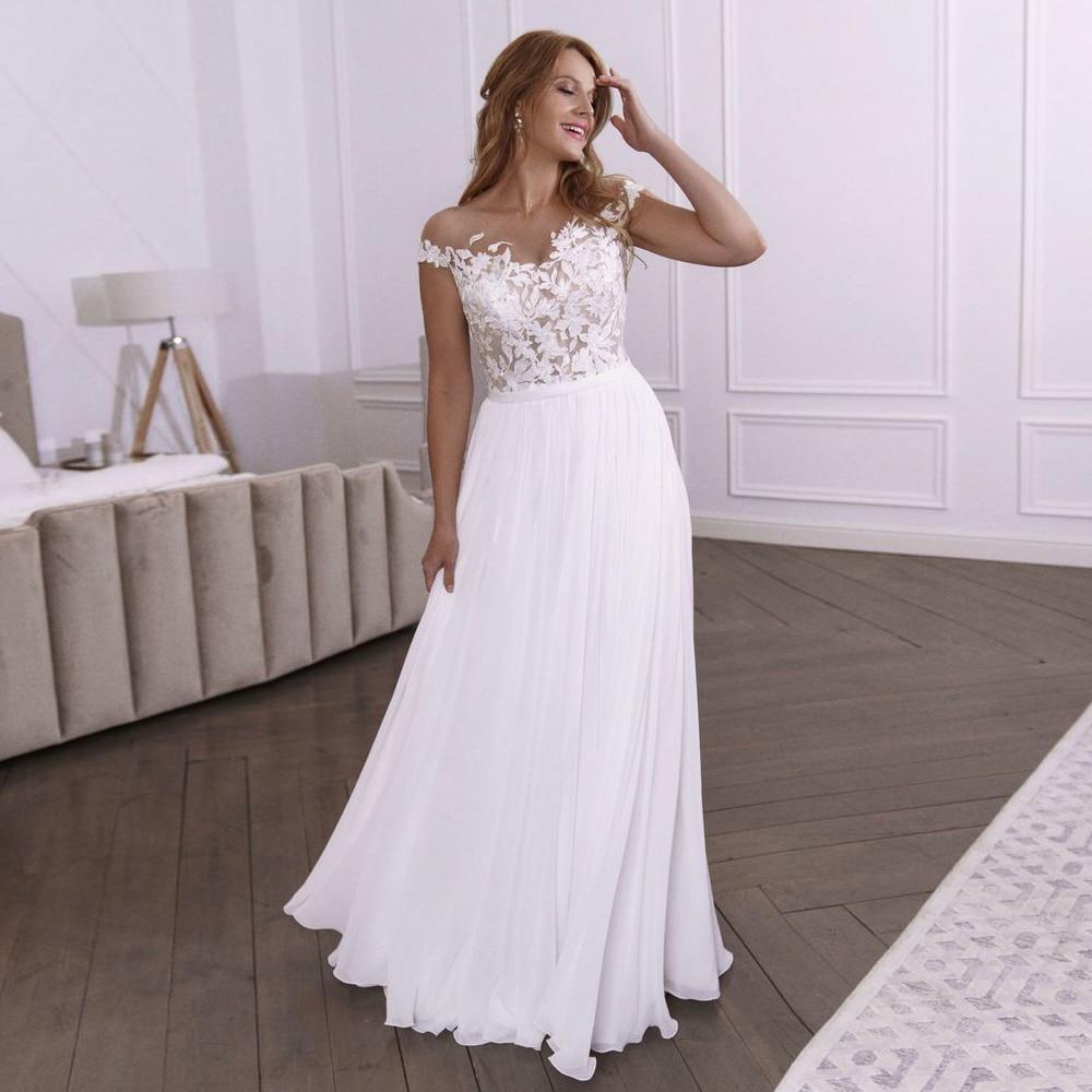 Simple Jewel Cap Sleeves Beach Wedding Gown Boho Sheer Neck Lace Vestidos de Novia 2020 Chiffon Bridal Dress