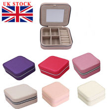 New Small Faux Leather Travel Jewel Box Easy Portable Jewelry Case Organizer PU Solid Color Vintage 7 Styles Storage