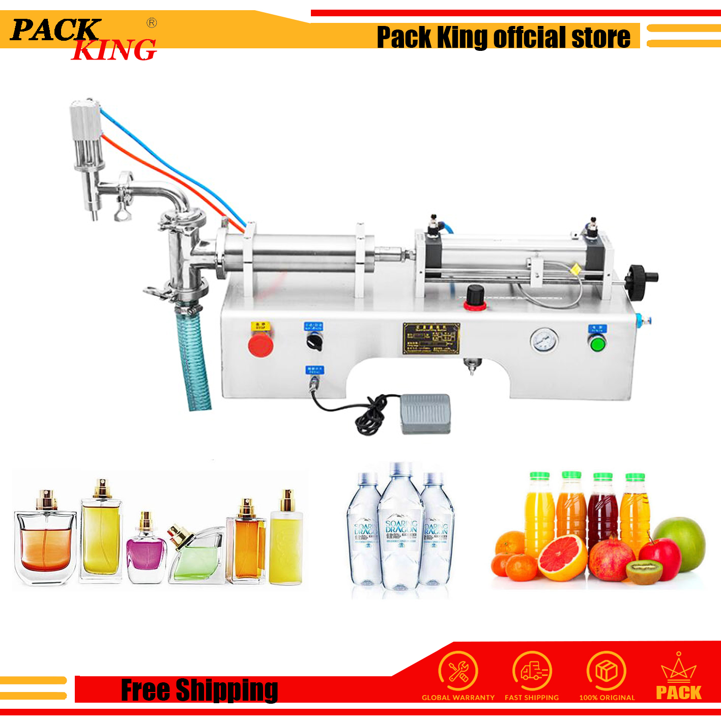 Liquid Filling Machine Juice Wine Piston Filler Milk Drinking Wine Ejuice Water Veniger Soy Sauce Liquor Beverage Free Shipping