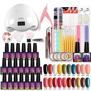 Маникюрный набор с 48 Вт УФ светодиодный светильник 20 цветов набор гель-лаков для ногтей набор инструментов для маникюра Полупостоянный гел...
