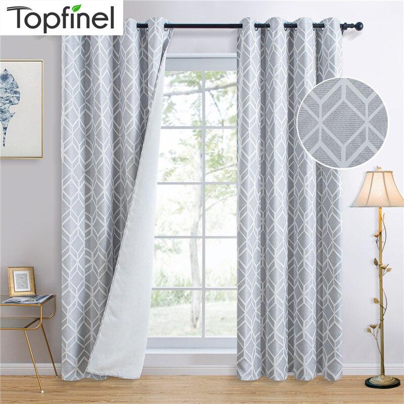 Геометрические затемняющие шторы Topfinel для спальни, гостиной, Роскошные Элегантные плотные оконные шторы с кубиками, затемняющие шторы