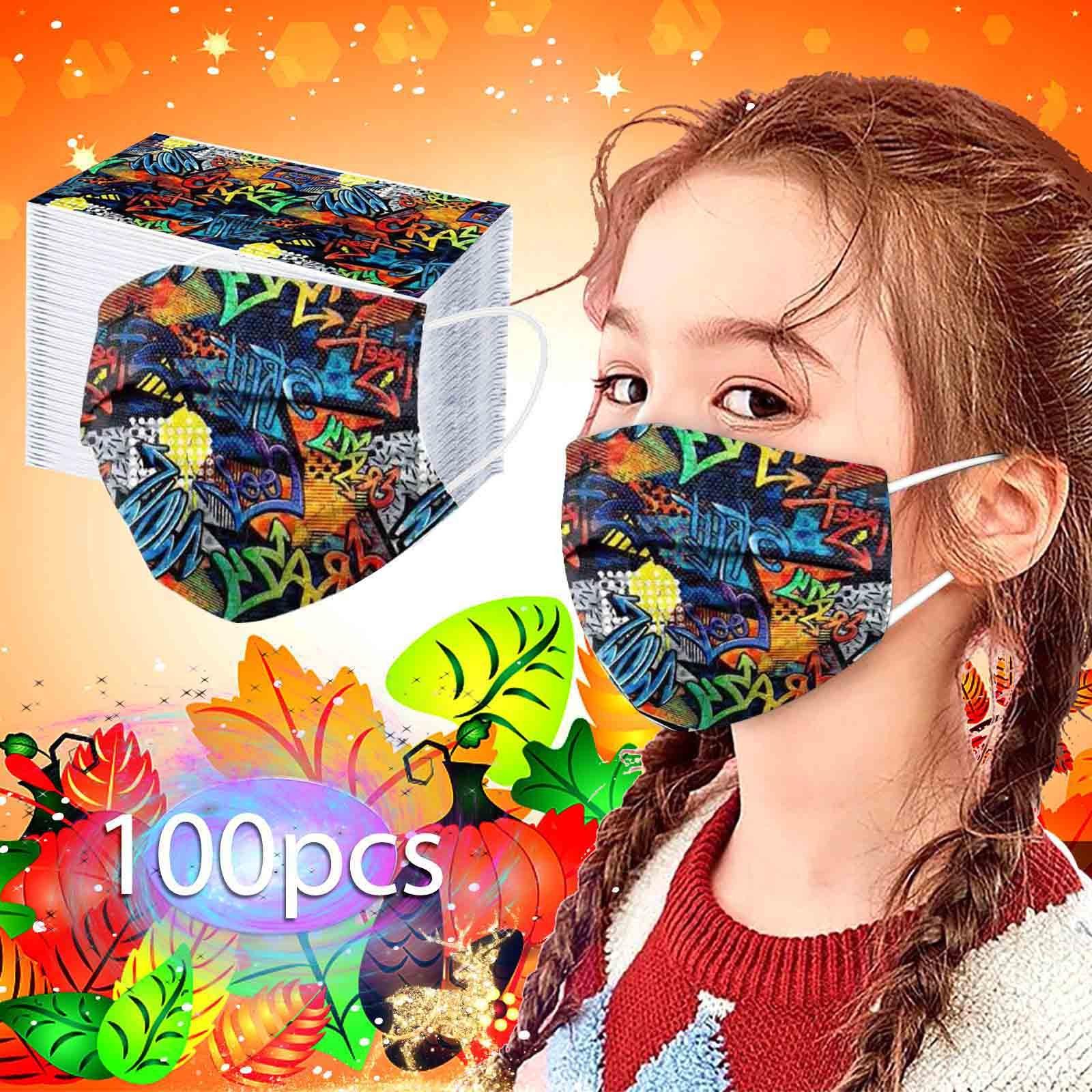 50 шт. граффити детские одноразовые маски для лица 3 слоя Анти-пыль загрязнения маски ткань изготовленный аэродинамическим способом по техно...