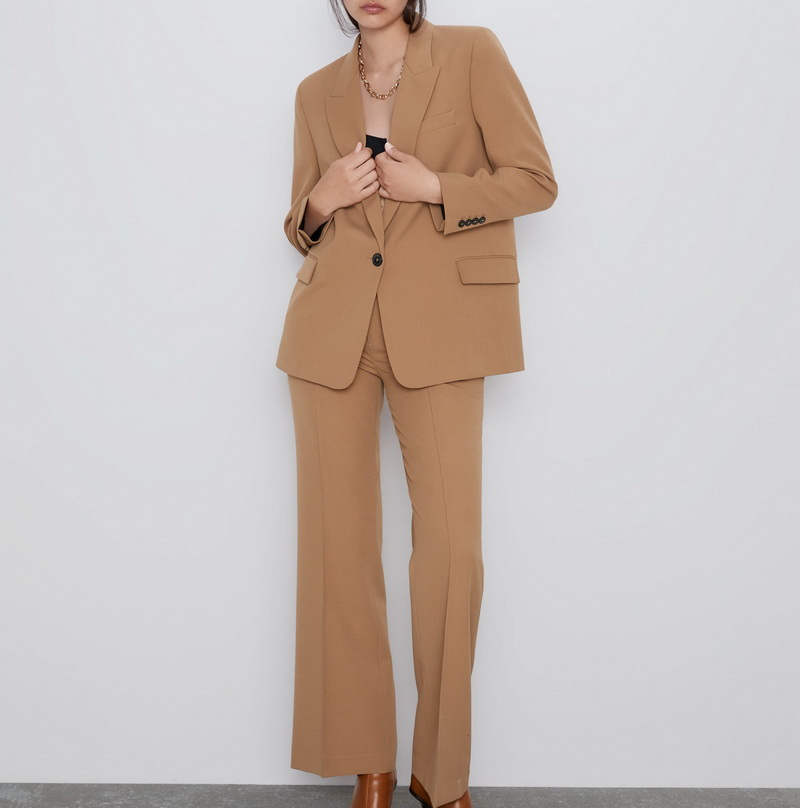 New Women Suit Autumn 2019 New Fashion Office Lady Blazer And Flare Pants Modern Lady Coat Outwear Bottom 2 Piece Sets