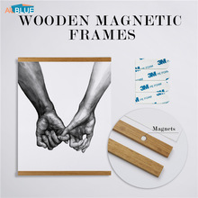 Wooden Poster Hanger Photo Magnetic Frame Four colors Artwork Picture Canvas Print Holder Hanging Wall Art Home Decor 21-70cm A4