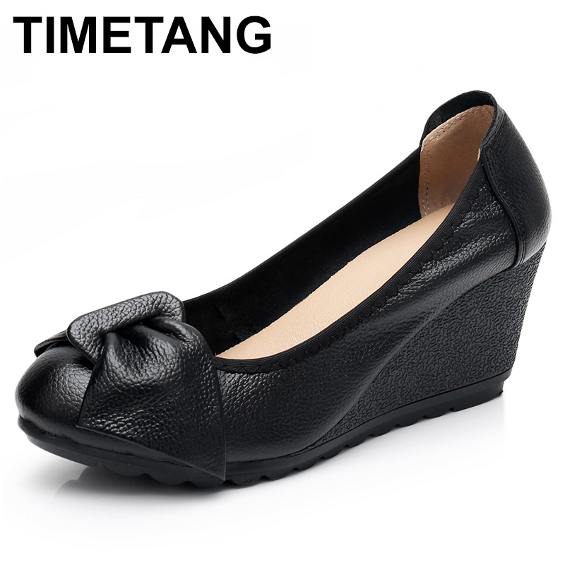 TIMETANG Autumn Genuine Women's Leather High Heels Female Shoes Mary Jane Pumps Slip On Casual Woman Wedges Shallow Platformshoe