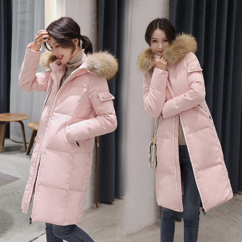 Women's Down Jacket Female Thick Warm Pink Winter Clothes 2020 Korean Ladies Duck Down Jacket Raccoon Fur Hood Hiver 8806
