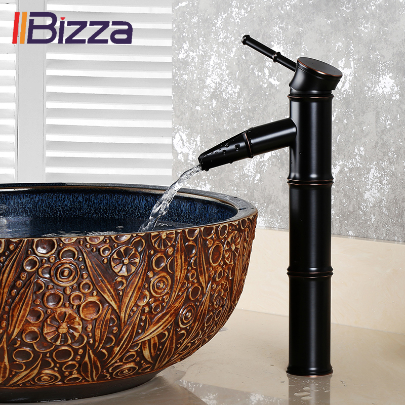 Black Bronze Brass Waterfall Bathroom Sink Faucet Vessel Tall Bamboo Water Tap Retro Single Hole Taps Basin Faucets Mixer Crane