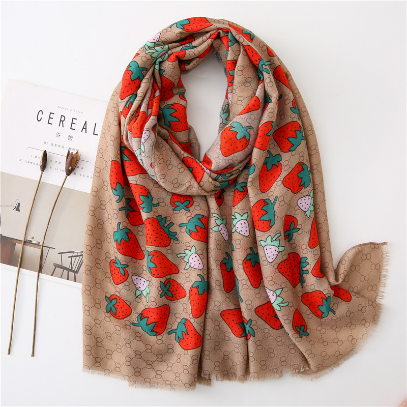 New Spring Autumn Cute Style Red Strawberry Cotton Scarf Women's Long Summer Travel Sunscreen Shawl