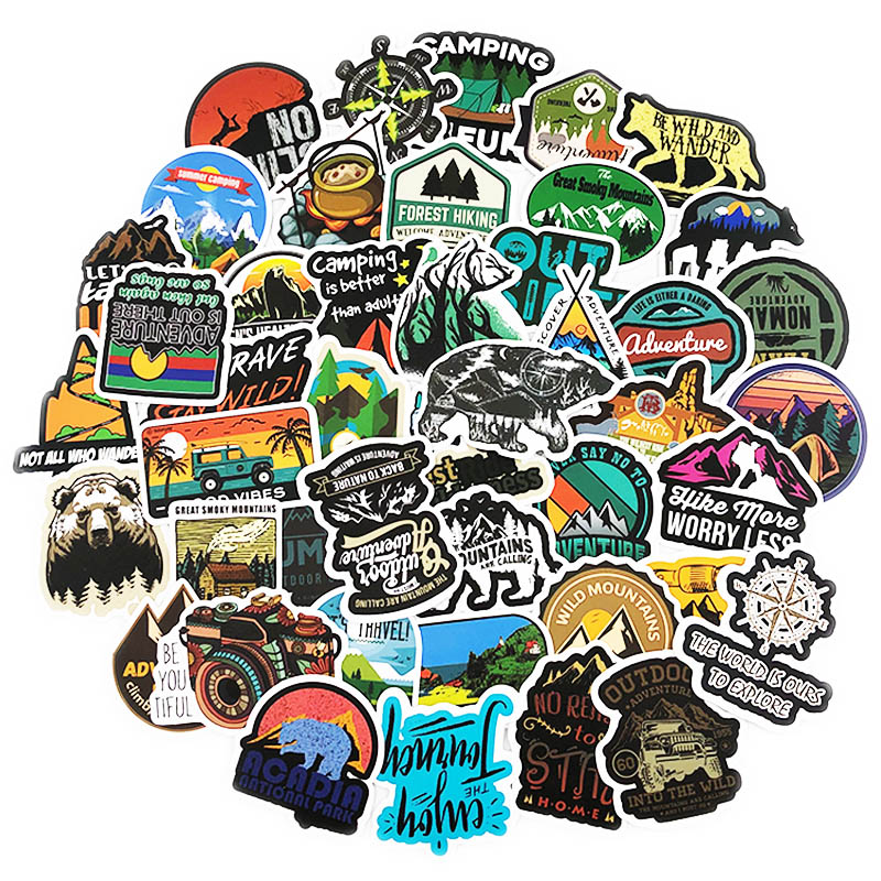50PCS Camping Landscape Stickers Outdoor Adventure Climbing Travel Waterproof Sticker To DIY Suitcase Laptop Bicycle Helmet Car
