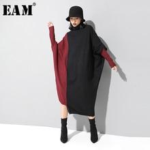 [EAM] 여성 뜨개질 대비 색 큰 크기 드레스 새로운 높은 목 긴 소매 느슨한 맞는 패션 조수 봄 가을 2020 1D674