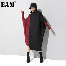[EAM] Frauen Stricken Kontrast Farbe Große Größe Kleid Neue High Neck Langarm Lose Fit Mode Flut Frühjahr herbst 2020 1D674