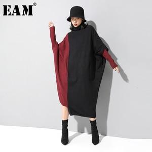 Image 1 - [EAM] فستان حريمي حياكة بألوان متباينة مقاس كبير برقبة عالية وأكمام طويلة وفضفاضة مناسب لربيع وخريف 2020 1D674