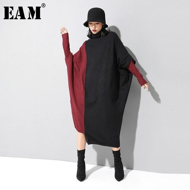 [EAM] فستان حريمي حياكة بألوان متباينة مقاس كبير برقبة عالية وأكمام طويلة وفضفاضة مناسب لربيع وخريف 2020 1D674
