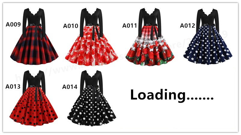 Music Note Print Elegant Party Dresses Women 1950s 60s Retro Vintage Robe Rockabilly Plus Size Casual Christmas Vestidos S-3XL