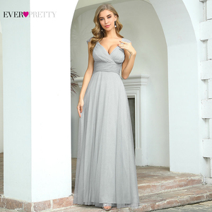 Image 2 - Spakle Prom Dresses Long Ever Pretty A Line V Neck Ruched Elegant Cheap Tulle Evening Party Gowns Vestidos Largos Fiesta 2020