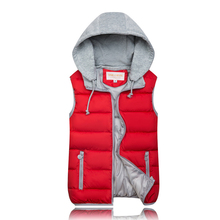 Male Warm Down Jacket Normal Length Sleeveless Thick Yellow