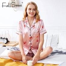 FallSweet kadın pijama seti ipek kısa kollu pijama çilek baskılı sevimli kıyafeti