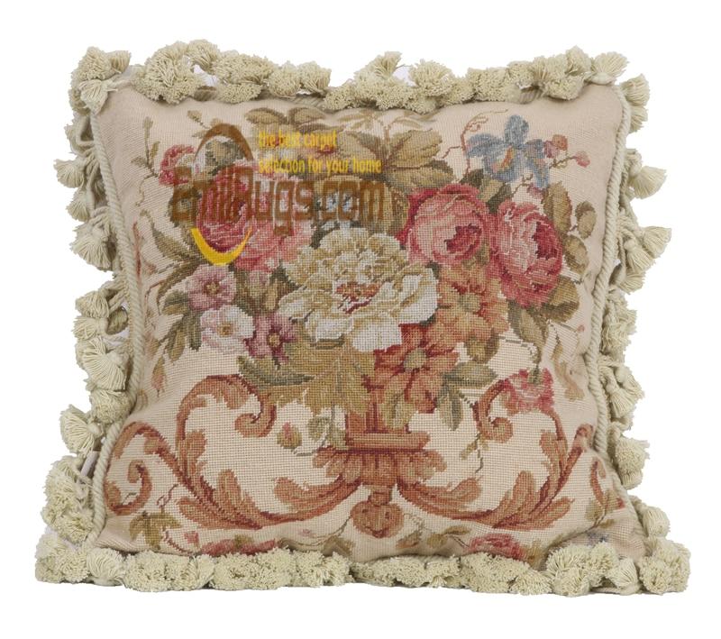 Coussin de broderie ruban pour voiture nouvelle laine woolenen aiguille noël Aubussion housse de coussin carré - 6