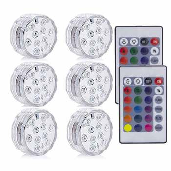 10LED RGB LED Underwater Light Pond Submersible IP67 Waterproof Swimming Pool Light Battery Operated For Wedding Party - 2 Remote 6 Light