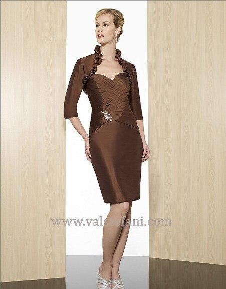 2015 New Arrival Women's Vestido De Festa Formales Knee-length Taffeta Elegant Mother Of The Bride Dresses With Jacket