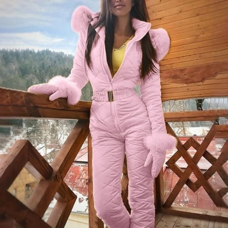 Fashion Womens Winter Warm Snowsuit Fleece Outdoor Sport Pants Suit Waterproof