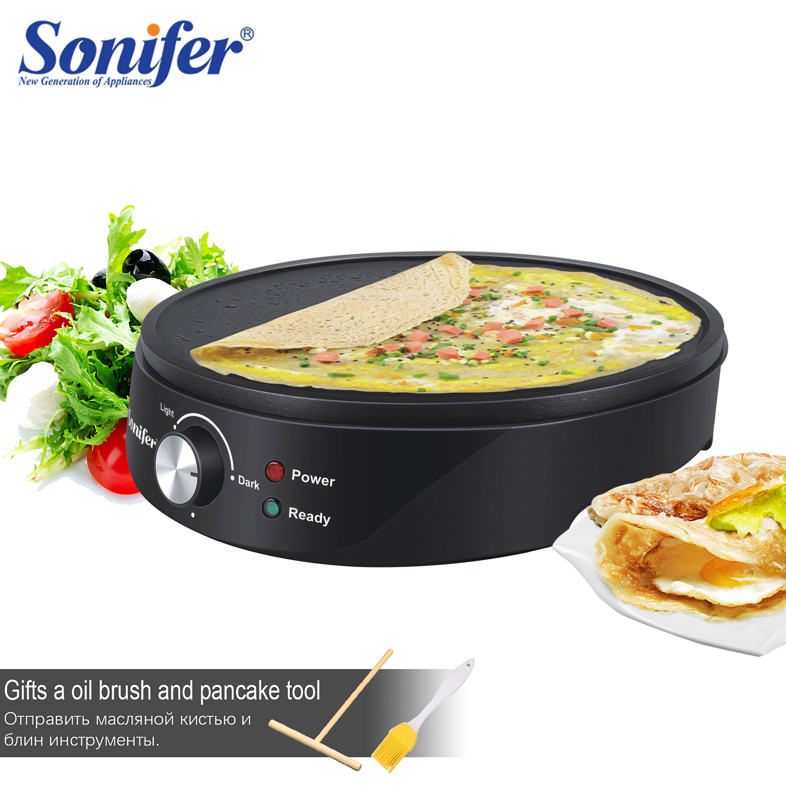 Electric Crepe Maker Pizza Pancake Roll Pie Non-Stick Griddle Baking Pan Barbecue Roasting Griddle Kitchen Cooking Tools Sonifer