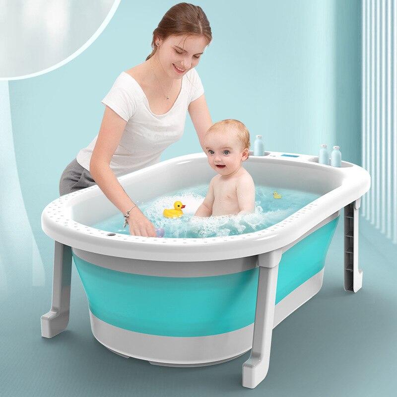 Temperatura em tempo real silicone dobrável bebê tomar uma banheira de banho antiderrapante pé banho balde dobrável banheira banheiro cesta banheira