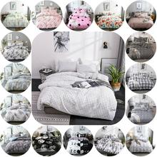 Home Bedding Set Grey White Pink Duvet cover set with Pillow case Twin Queen King Size Grid Bedclothes Adults Bed Linen Decor twin set simona barbieri beauty case