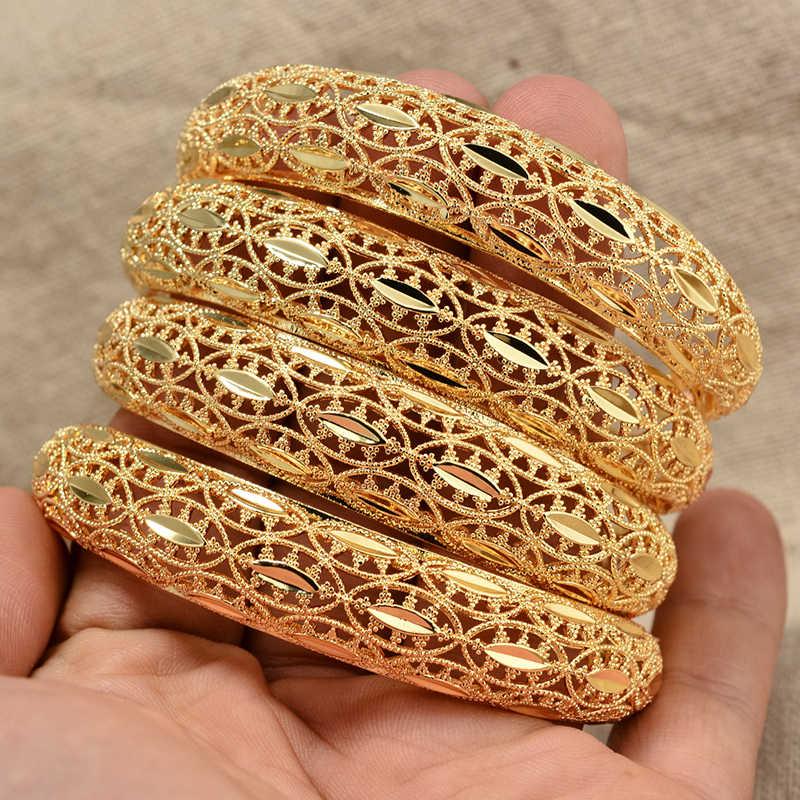Annayoyo 4 יח'\חבילה דובאי מסיבת זהב צבע חתונה צמיד & צמידי נשים קישוט צמיד אפריקאי האתיופית תכשיטים סיטונאי