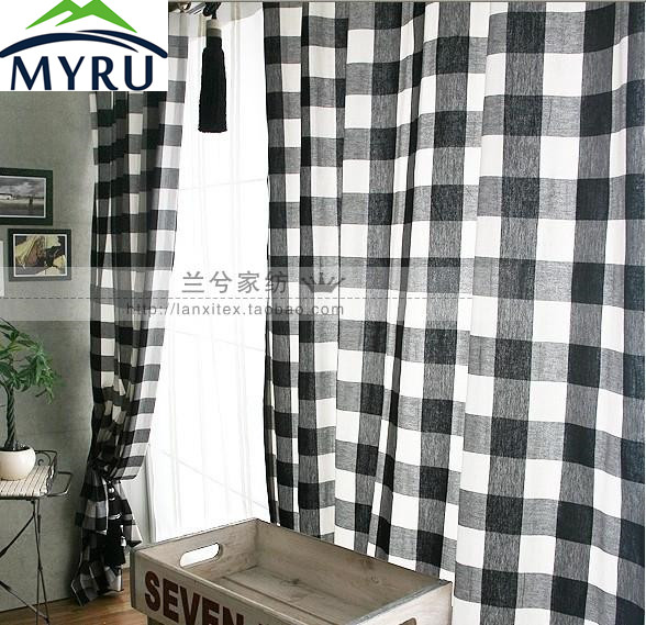 MYRU Black And White Plaid Window Curtains Semi Shade Cloth Curtains For Bedroom And Living Room