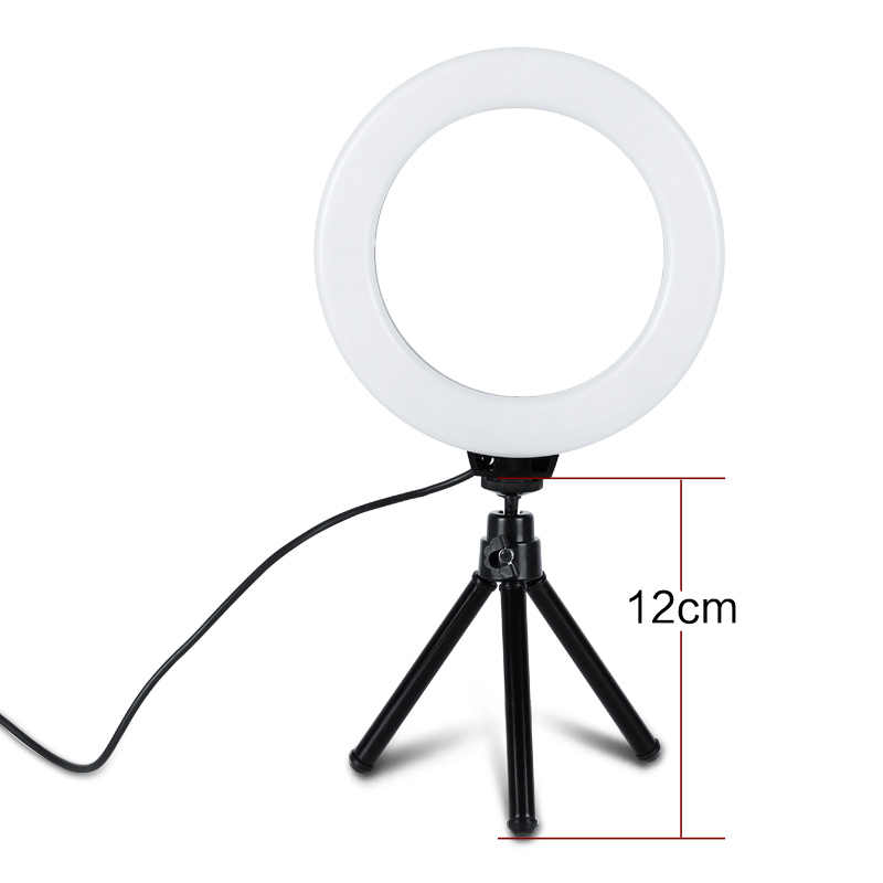Anillo de luz LED regulable para Selfie para fotografía de 6 pulgadas Youtube Video Live 3500-5500k Luz de estudio fotográfico con trípode con enchufe USB