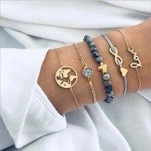 5pcs Sets Women Bohemian Bracelets World Map Love Turtle Charm Bangles Gold Color Strand Jewelry Party