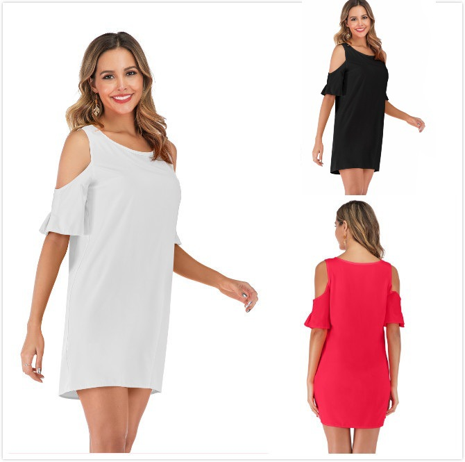 <font><b>AliExpress</b></font> Hot Selling 2019 Europe And America WOMEN'S <font><b>Dress</b></font> Summer Solid Color Slit off-Shoulder <font><b>Dress</b></font> image