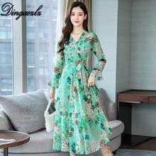 Dingaozlz Autumn New Women dress V-neck Flare Sleeve Long Chiffon Dress Bohemia Plus size Printed Casual