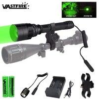 Super Helle Grün Taktische Taschenlampe T6 LED Laterne Zoomable Einstellbarer Fokus Jagd Licht Waffe Licht für Outdoor-in Waffenlichter aus Sport und Unterhaltung bei