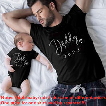 Funny Daddy and Baby 2021 Print Family Matching Clothes Black Cotton Matching Family Look Outfits for Dad Son Daughter Tshirt(China)