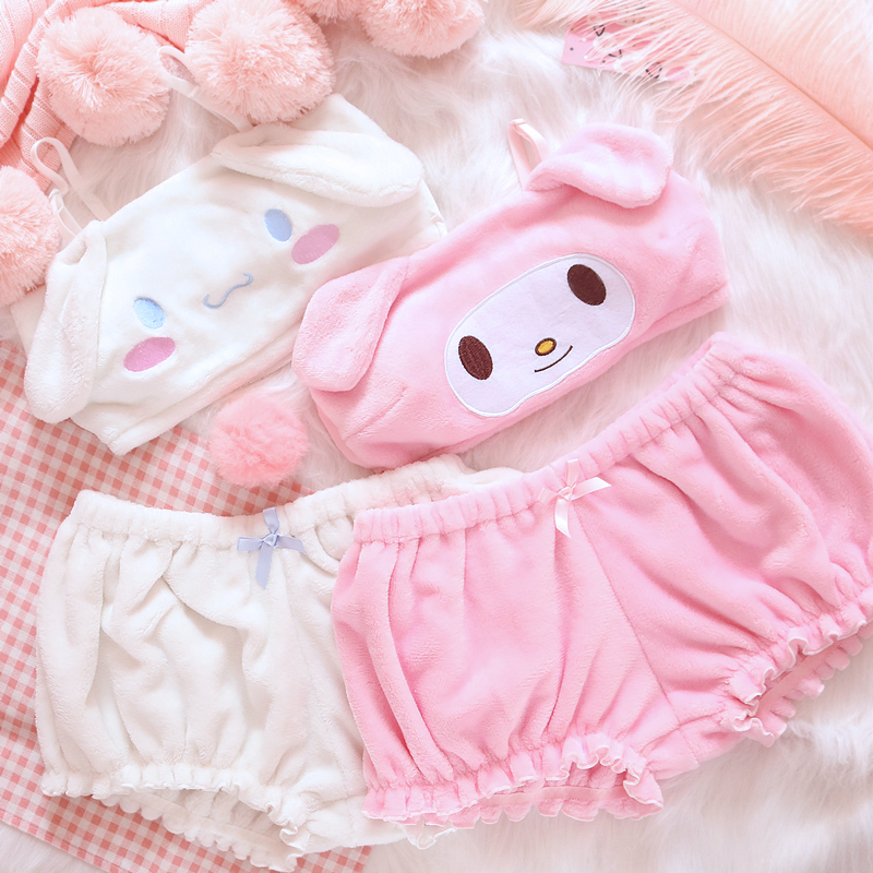 OJBK Pink And White Kwaii Velvet Tube Top And Panties Set For Girls Adorable Underwear Anime Long Ear Doggy Bra and bloomers 1