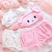 OJBKสีชมพูและสีขาวKawaiiกำมะหยี่ด้านบนและกางเกงชุดสำหรับสาวน่ารักชุดชั้นในอะนิเมะหูยาวDoggy BraและBloomers